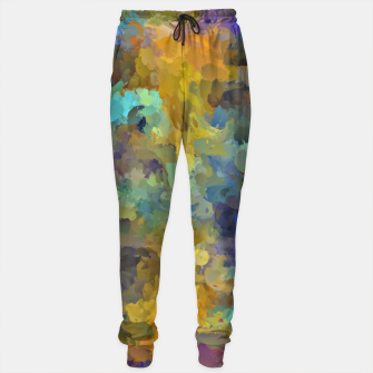 Thumbnail image of psychedelic painting abstract pattern in yellow brown blue Sweatpants, Live Heroes