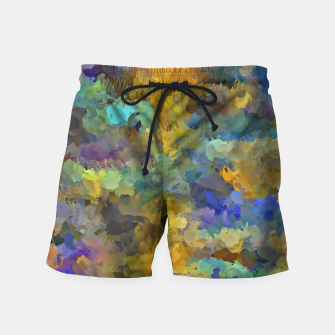 Thumbnail image of psychedelic painting abstract pattern in yellow brown blue Swim Shorts, Live Heroes