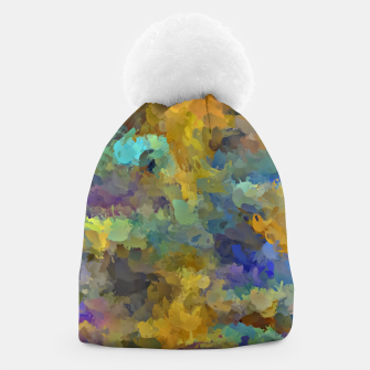 Thumbnail image of psychedelic painting abstract pattern in yellow brown blue Beanie, Live Heroes