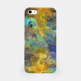 Thumbnail image of psychedelic painting abstract pattern in yellow brown blue iPhone Case, Live Heroes