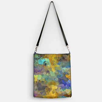 Thumbnail image of psychedelic painting abstract pattern in yellow brown blue Handbag, Live Heroes