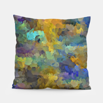 Thumbnail image of psychedelic painting abstract pattern in yellow brown blue Pillow, Live Heroes