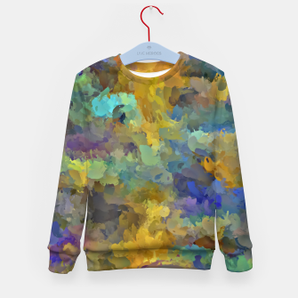 Thumbnail image of psychedelic painting abstract pattern in yellow brown blue Kid's Sweater, Live Heroes
