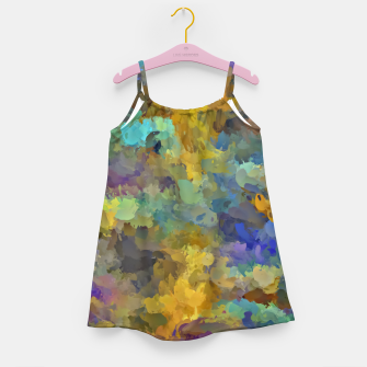 Thumbnail image of psychedelic painting abstract pattern in yellow brown blue Girl's Dress, Live Heroes