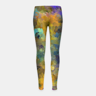 Thumbnail image of psychedelic painting abstract pattern in yellow brown blue Girl's Leggings, Live Heroes
