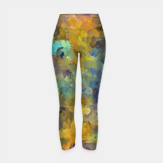 Thumbnail image of psychedelic painting abstract pattern in yellow brown blue Yoga Pants, Live Heroes