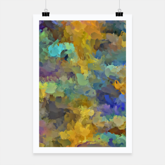 Thumbnail image of psychedelic painting abstract pattern in yellow brown blue Poster, Live Heroes