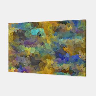 Thumbnail image of psychedelic painting abstract pattern in yellow brown blue Canvas, Live Heroes