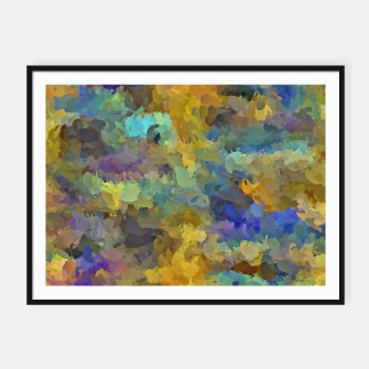 Thumbnail image of psychedelic painting abstract pattern in yellow brown blue Framed poster, Live Heroes