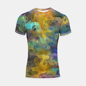 Thumbnail image of psychedelic painting abstract pattern in yellow brown blue Shortsleeve Rashguard, Live Heroes