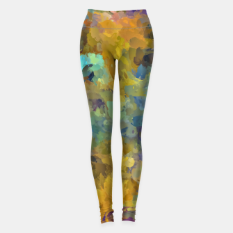 Thumbnail image of psychedelic painting abstract pattern in yellow brown blue Leggings, Live Heroes