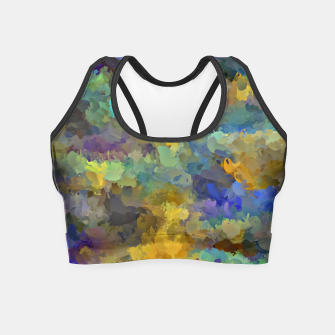 Thumbnail image of psychedelic painting abstract pattern in yellow brown blue Crop Top, Live Heroes