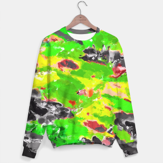 Miniaturka psychedelic splash painting abstract texture in in green yellow black Sweater, Live Heroes
