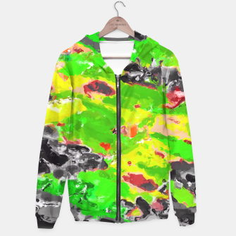 Miniaturka psychedelic splash painting abstract texture in in green yellow black Hoodie, Live Heroes