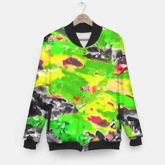 Miniaturka psychedelic splash painting abstract texture in in green yellow black Baseball Jacket, Live Heroes