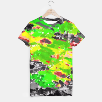 Miniaturka psychedelic splash painting abstract texture in in green yellow black T-shirt, Live Heroes