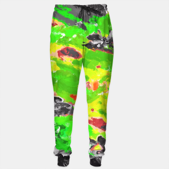 Miniaturka psychedelic splash painting abstract texture in in green yellow black Sweatpants, Live Heroes