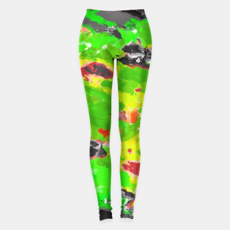 Thumbnail image of psychedelic splash painting abstract texture in in green yellow black Leggings, Live Heroes