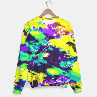 Miniaturka psychedelic splash painting abstract texture in yellow blue green purple Sweater, Live Heroes