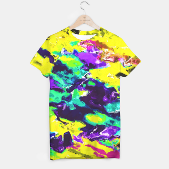 Miniaturka psychedelic splash painting abstract texture in yellow blue green purple T-shirt, Live Heroes