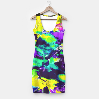 Thumbnail image of psychedelic splash painting abstract texture in yellow blue green purple Simple Dress, Live Heroes