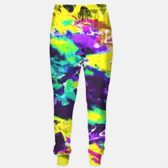Miniaturka psychedelic splash painting abstract texture in yellow blue green purple Sweatpants, Live Heroes