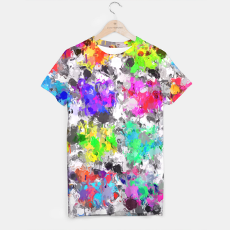Miniaturka colorful psychedelic splash painting abstract texture in pink blue purple green yellow red orange T-shirt, Live Heroes