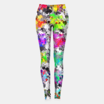Thumbnail image of colorful psychedelic splash painting abstract texture in pink blue purple green yellow red orange Leggings, Live Heroes