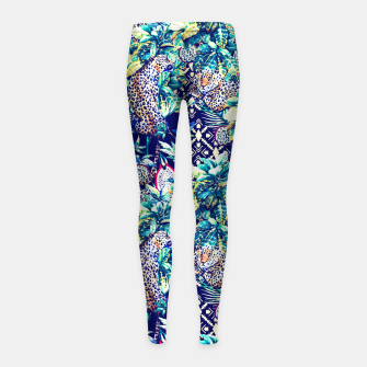 Tribal and leopards in the rainforest Leggings para niña thumbnail image