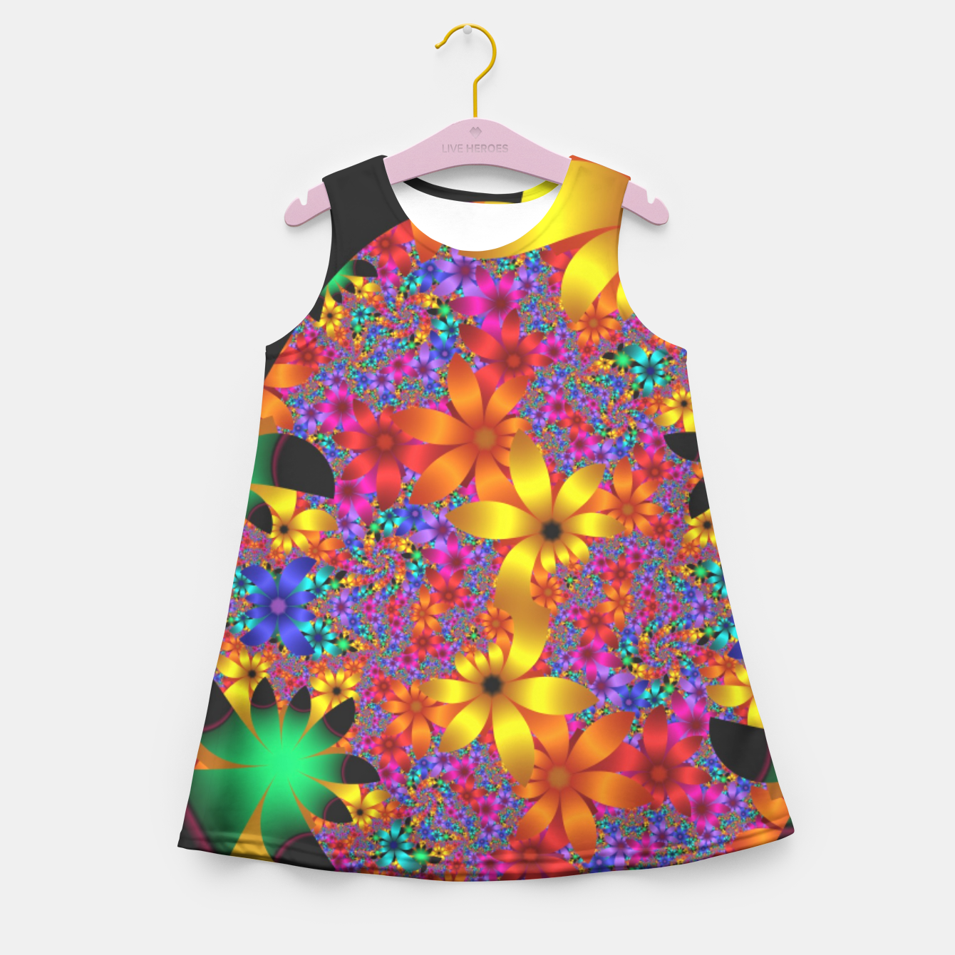 Image of mini on black -2- Girl's Summer Dress - Live Heroes