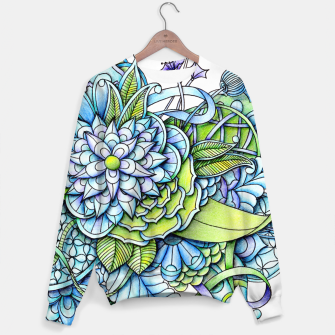 Thumbnail image of Blue Green Peaceful Flower Garden Sweater, Live Heroes