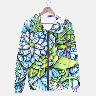 Thumbnail image of Blue Green Peaceful Flower Garden Hoodie, Live Heroes