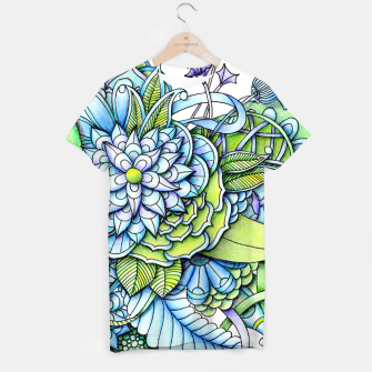 Thumbnail image of Blue Green Peaceful Flower Garden T-shirt, Live Heroes