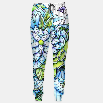 Imagen en miniatura de Blue Green Peaceful Flower Garden Sweatpants, Live Heroes