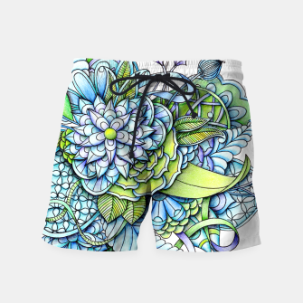 Thumbnail image of Blue Green Peaceful Flower Garden Swim Shorts, Live Heroes