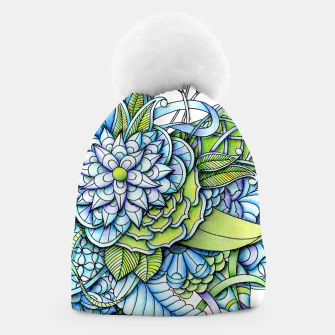 Thumbnail image of Blue Green Peaceful Flower Garden Beanie, Live Heroes