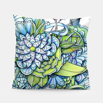 Thumbnail image of Blue Green Peaceful Flower Garden Pillow, Live Heroes