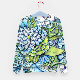 Thumbnail image of Blue Green Peaceful Flower Garden Kid's Sweater, Live Heroes