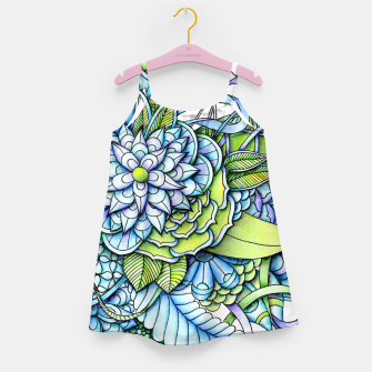 Thumbnail image of Blue Green Peaceful Flower Garden Girl's Dress, Live Heroes