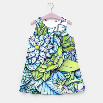 Thumbnail image of Blue Green Peaceful Flower Garden Girl's Summer Dress, Live Heroes
