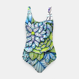 Thumbnail image of Blue Green Peaceful Flower Garden Swimsuit, Live Heroes