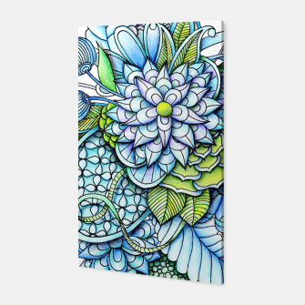 Thumbnail image of Blue Green Peaceful Flower Garden Canvas, Live Heroes