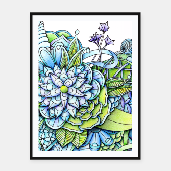 Thumbnail image of Blue Green Peaceful Flower Garden Framed poster, Live Heroes