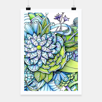 Thumbnail image of Blue Green Peaceful Flower Garden Poster, Live Heroes