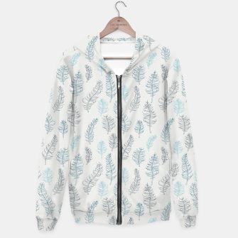 Thumbnail image of Whimsical grey leaf / feather pattern Hoodie, Live Heroes