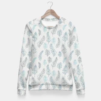 Thumbnail image of Whimsical grey leaf / feather pattern Fitted Waist Sweater, Live Heroes