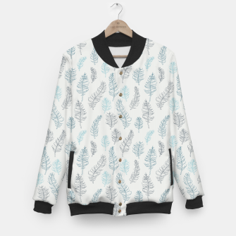 Thumbnail image of Whimsical grey leaf / feather pattern Baseball Jacket, Live Heroes