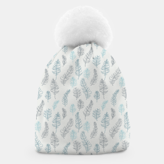 Thumbnail image of Whimsical grey leaf / feather pattern Beanie, Live Heroes