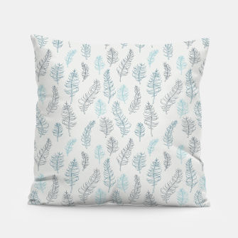 Thumbnail image of Whimsical grey leaf / feather pattern Pillow, Live Heroes