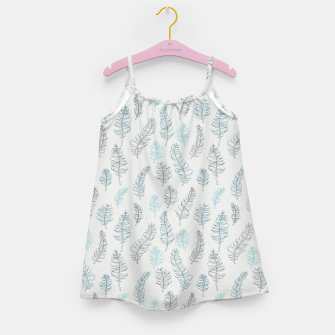 Thumbnail image of Whimsical grey leaf / feather pattern Girl's Dress, Live Heroes
